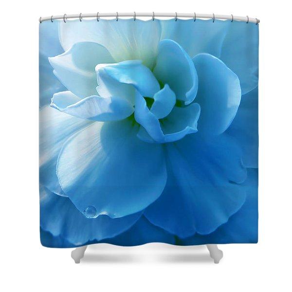 Blue Begonia Flower Shower Curtain by Jennie Marie Schell