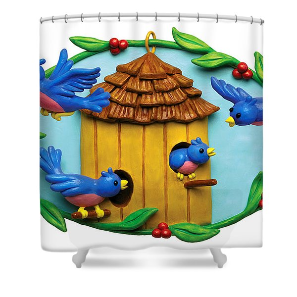 Blue Birds fly Home Shower Curtain by Amy Vangsgard
