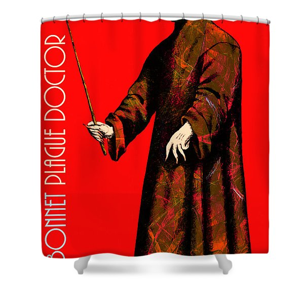 Blue Bonnet Plague Doctor 20140306 With Text Shower Curtain by Wingsdomain Art and Photography