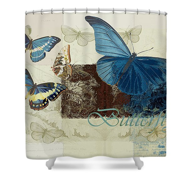 Blue Butterfly - J152164152-01 Shower Curtain by Variance Collections
