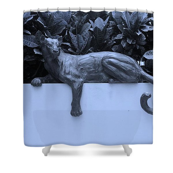 BLUE CAT Shower Curtain by ROB HANS