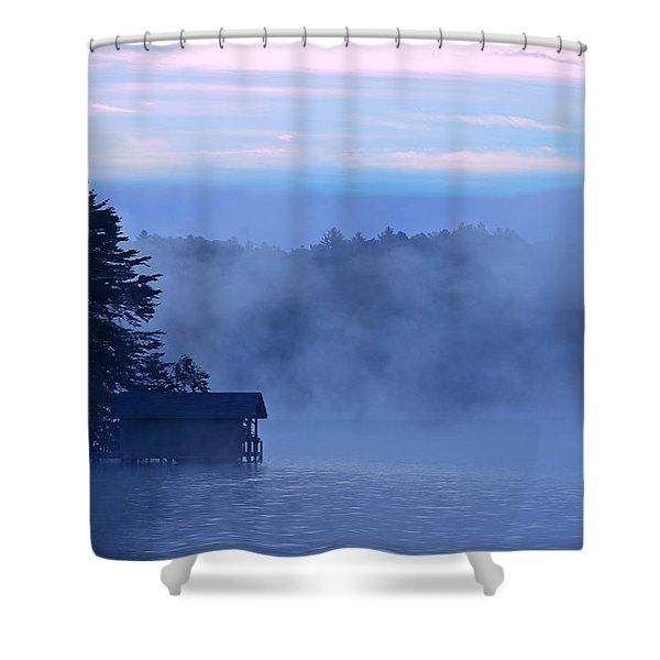 Blue Dawn Mist Shower Curtain by Susan Leggett