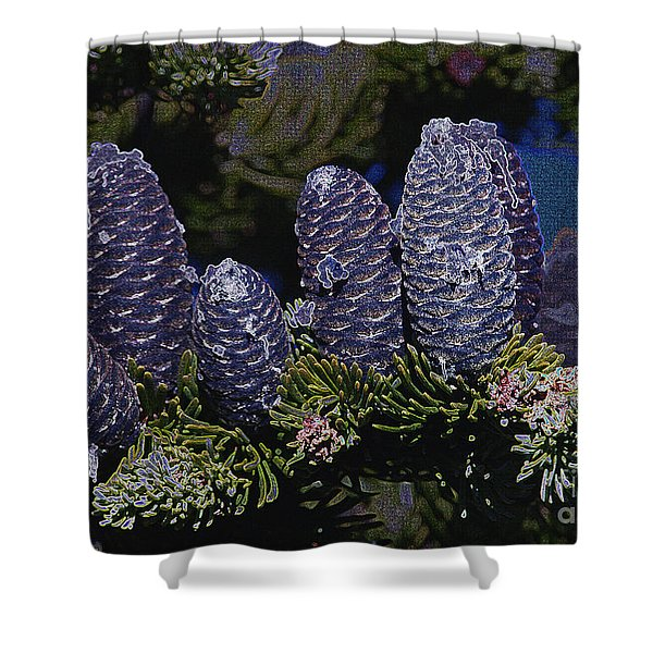 Blue Fir Cones 2 outlined Shower Curtain by Sharon  Talson