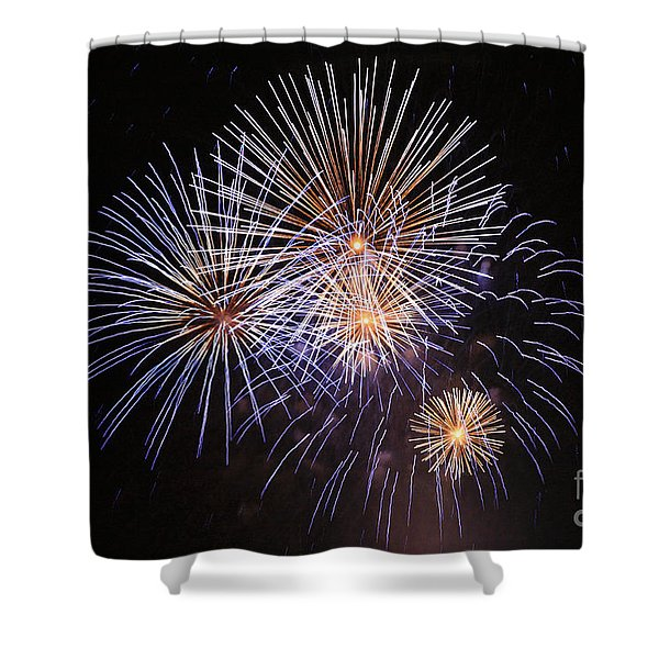 Blue fireworks at night Shower Curtain by Deborah Benbrook