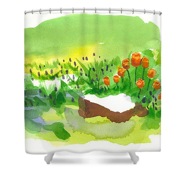 Blue Grape Hyacinths With Red Tulips And Tree Stump Shower Curtain by Kip DeVore