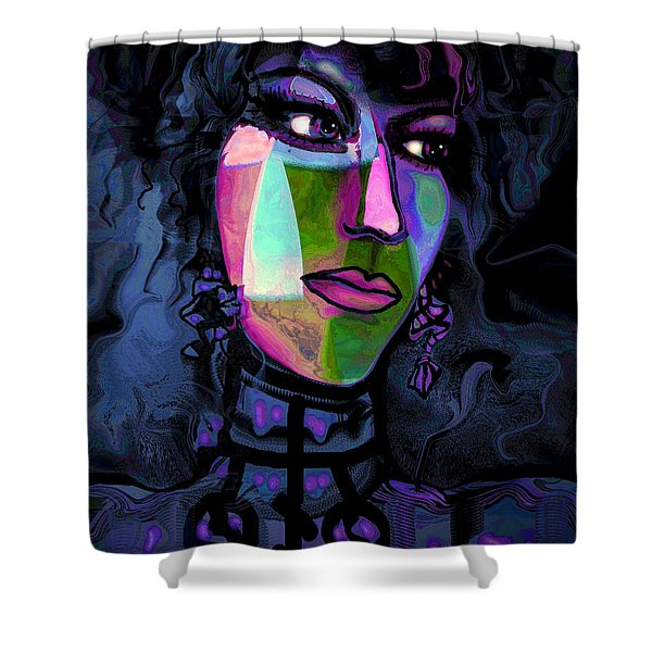 Blue Lady Shower Curtain by Natalie Holland