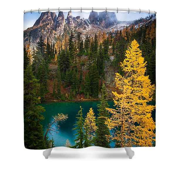 Blue Lake and Early Winter Spires Shower Curtain by Inge Johnsson