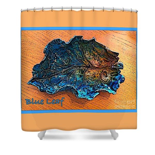 Blue Leaf Ceramic Design 2 Shower Curtain by Joan-Violet Stretch