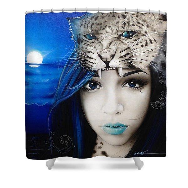 'Blue Moon' Shower Curtain by Christian Chapman Art