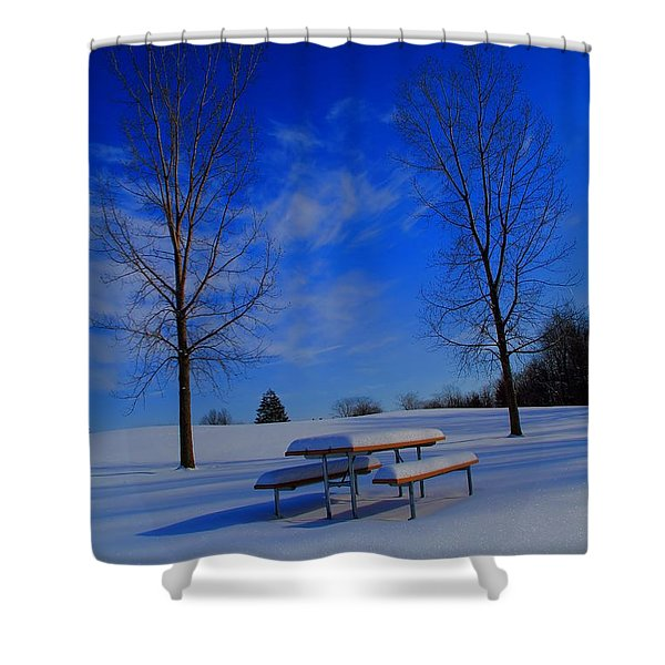 Blue On A Snowy Day Shower Curtain by Dan Sproul