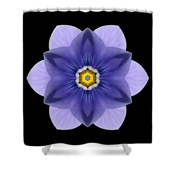 Blue Pansy I Flower Mandala Shower Curtain by David J Bookbinder