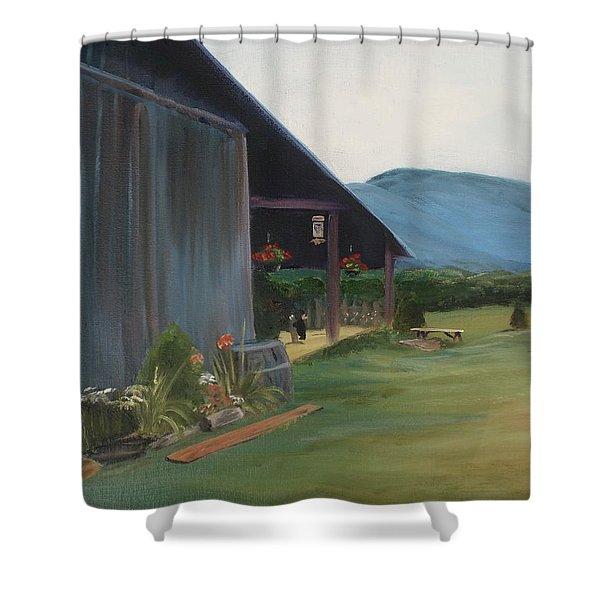 Blue Ridge Vineyard Shower Curtain by Donna Tuten