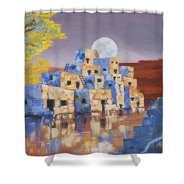 Blue Serpent Pueblo Shower Curtain by Jerry McElroy