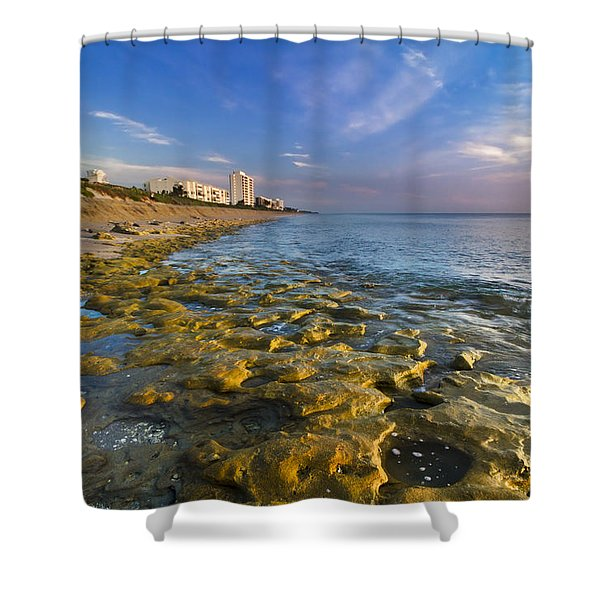 Blue Sky Over Coral Cove Shower Curtain by Debra and Dave Vanderlaan