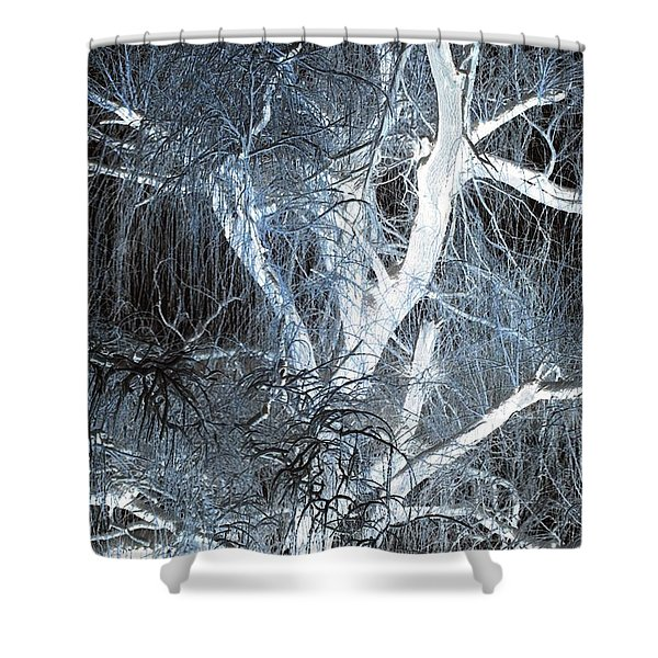 Blue Snow Shower Curtain by Kathleen Struckle