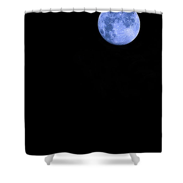 Blue Supermoon Shower Curtain by Trish Mistric