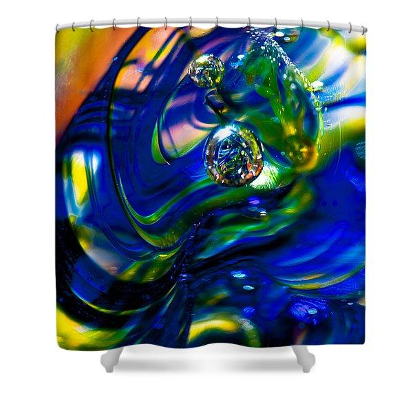 Blue Swirls Shower Curtain by David Patterson