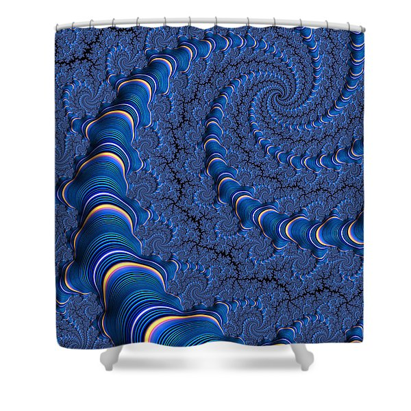 Blue Tubes Shower Curtain by John Edwards