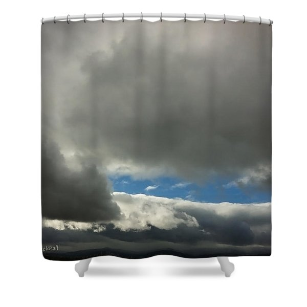 Blue Window Shower Curtain by Donna Blackhall