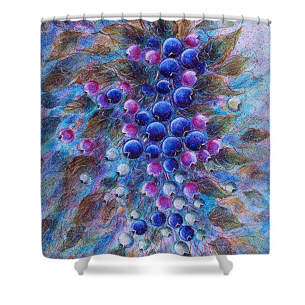 Blueberries Shower Curtain by Natalie Holland