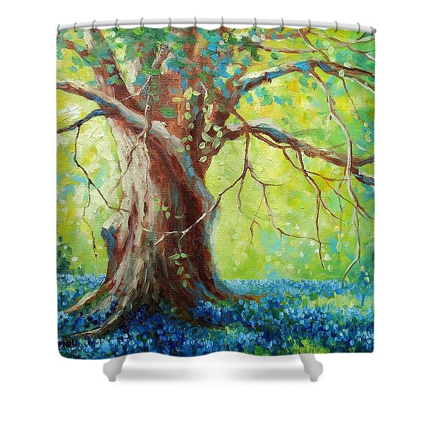 Bluebonnets Under The Oak Shower Curtain by David G Paul