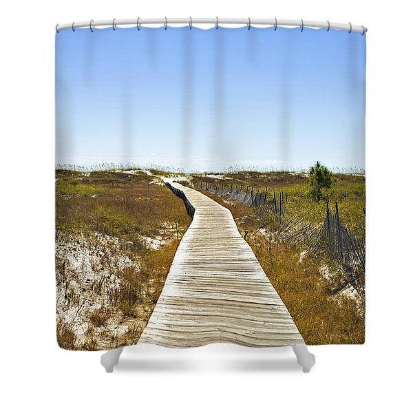Boardwalk Shower Curtain by Susan Leggett