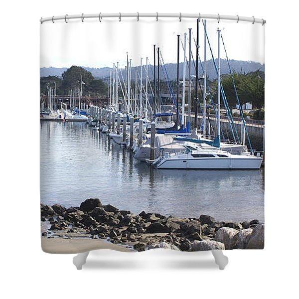Boat Dock And Big Rocks Right Shower Curtain by Barbara Snyder