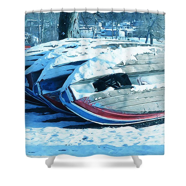 Boat Hire On Holiday Shower Curtain by Jutta Maria Pusl