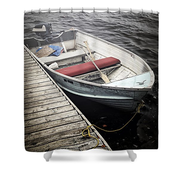 Boat in fog Shower Curtain by Elena Elisseeva