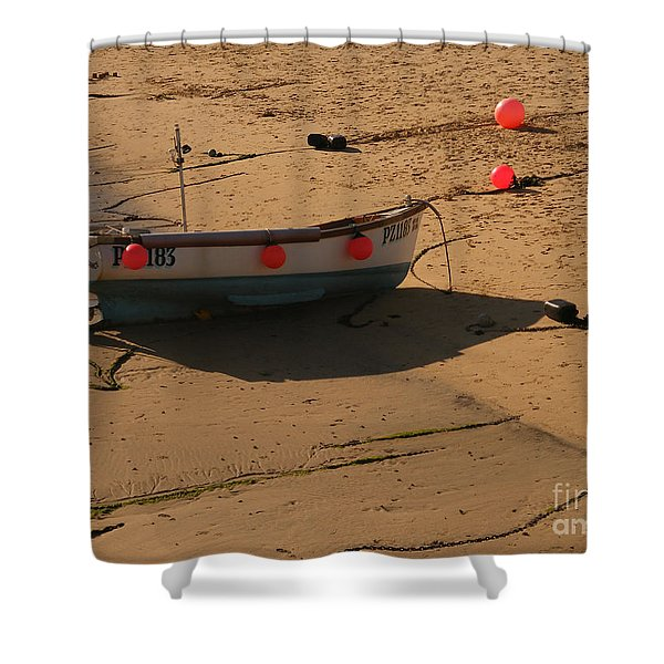 Boat On Beach 04 Shower Curtain by Pixel Chimp