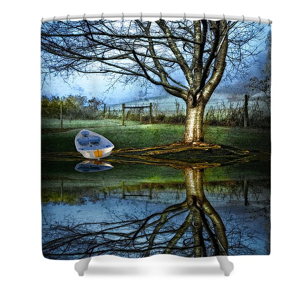 Boat on the Lake Shower Curtain by Debra and Dave Vanderlaan