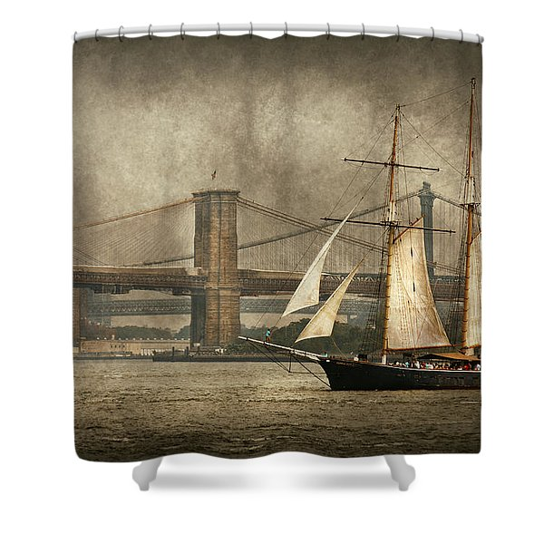 Boat - Sailing - Govenors Island NY - Clipper City Shower Curtain by Mike Savad