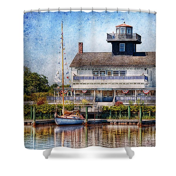 Boat - Tuckerton Seaport - Tuckerton Lighthouse Shower Curtain by Mike Savad