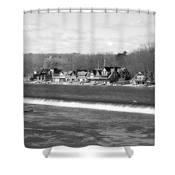 Boathouse Row winter b/w Shower Curtain by Jennifer Lyon