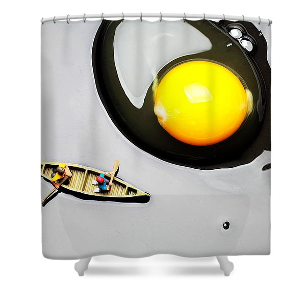 Boating around egg little people on food Shower Curtain by Paul Ge