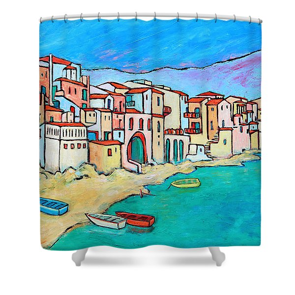Boats In Front Of Buildings VIII Shower Curtain by Xueling Zou