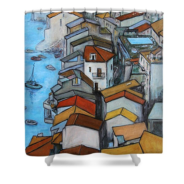 Boats in front of the Buildings IV Shower Curtain by Xueling Zou