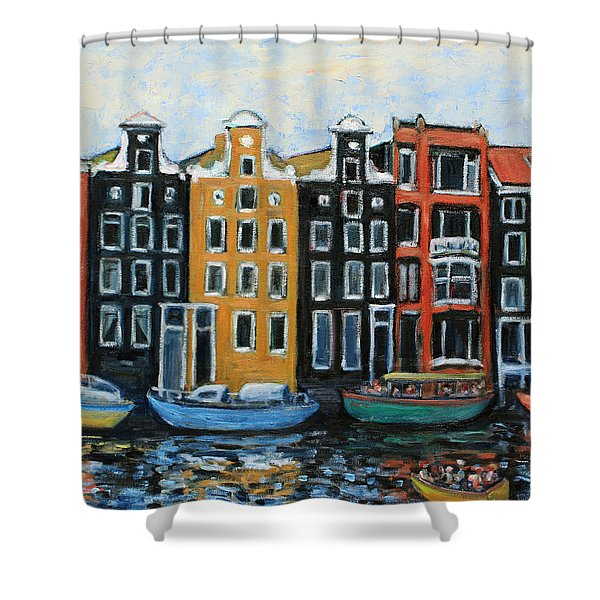 Boats In Front of the Buildings VI Shower Curtain by Xueling Zou