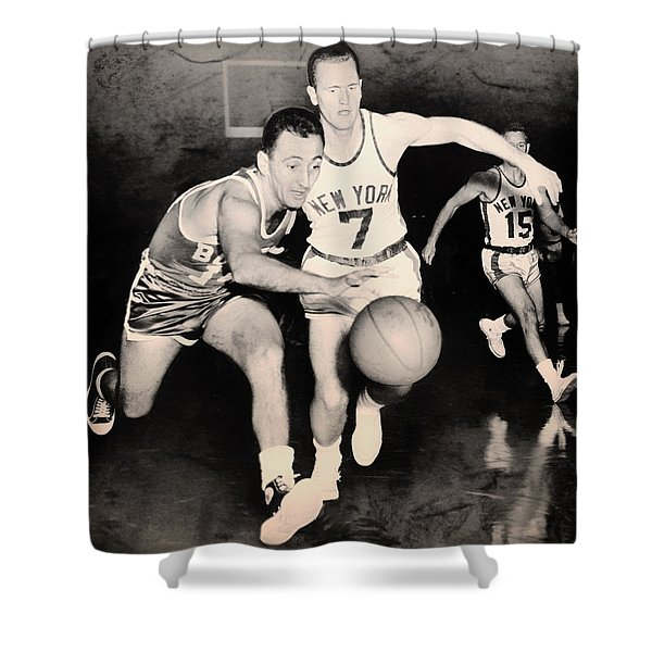 Bob Cousy of the Celtics 1960 Shower Curtain by Mountain Dreams
