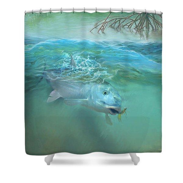 Bone Fish Shower Curtain by Rob Corsetti