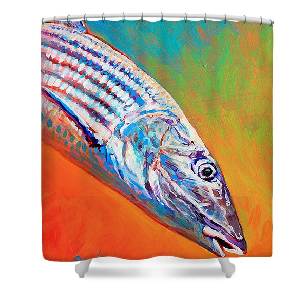 Bonefish Portrait Shower Curtain by Mike Savlen