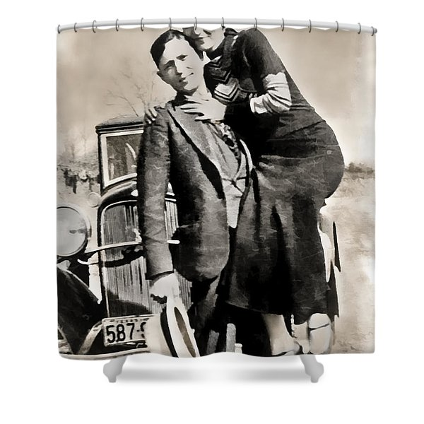 BONNIE and CLYDE - TEXAS Shower Curtain by Daniel Hagerman