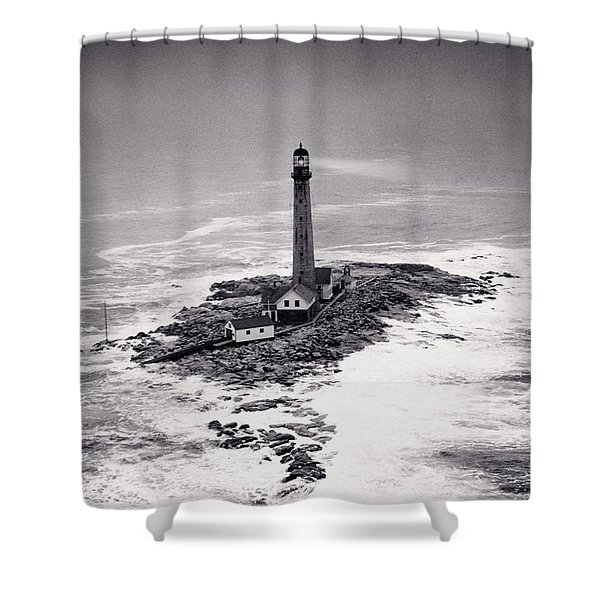 Boon Island Light Tower Circa 1950 Shower Curtain by Aged Pixel