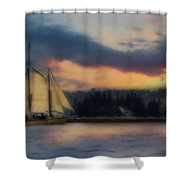 Boothbay Harbor Schooner Shower Curtain by Lori Deiter