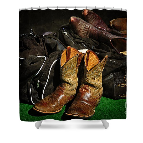 Boots and Bags Shower Curtain by Bob Hislop