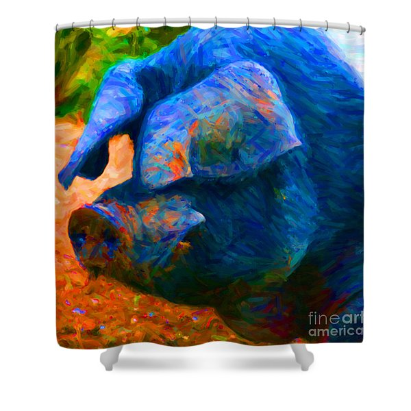 Boss Hog - 2013-0108 - Square Shower Curtain by Wingsdomain Art and Photography