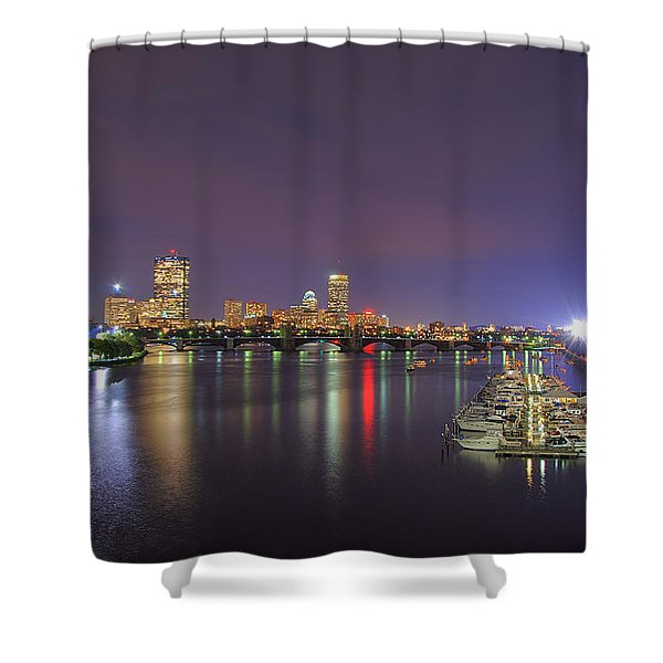 Boston Harbor Skyline Shower Curtain by Joann Vitali