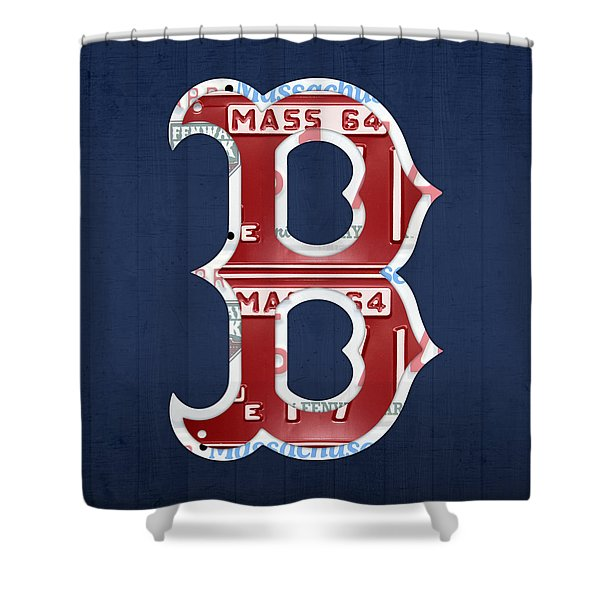 Boston Red Sox Logo Letter B Baseball Team Vintage License Plate Art Shower Curtain by Design Turnpike