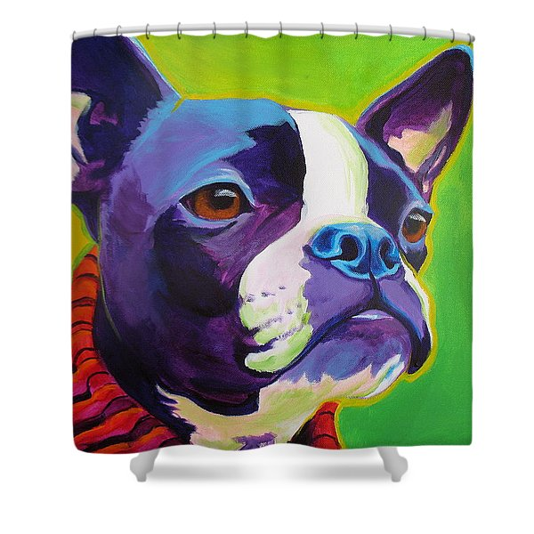 Boston Terrier - Ridley Shower Curtain by Alicia VanNoy Call