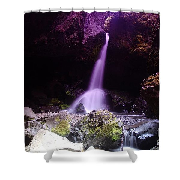 Boulder Cave Falls Shower Curtain by Jeff  Swan